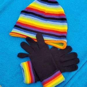 Rainbow 🌈 Knitted Hat and Gloves, St. John's Bay